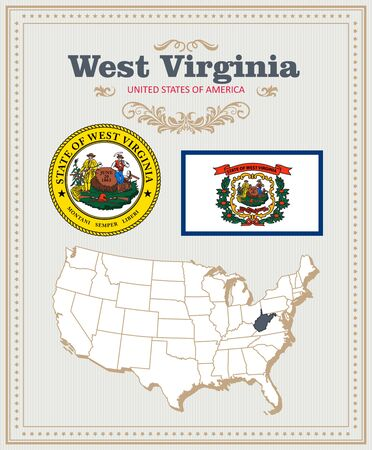 West Virginia travel postcard. USA colorful poster 向量圖像