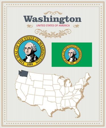 High detailed vector set with flag, coat of arms, map of Washington. American poster. Greeting card from United States of America. 向量圖像
