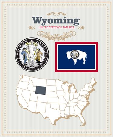 Wyoming vector american poster. USA travel illustration. United States of America colorful greeting card. US Banner