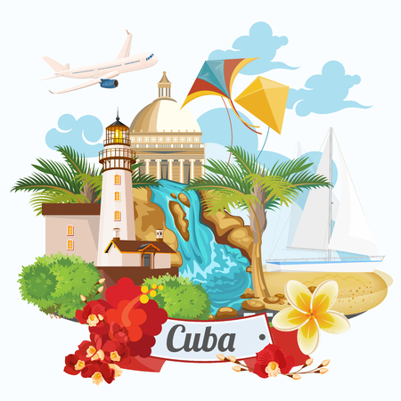 Cuba atracción y lugares de interés turístico - concepto de tarjetas postales del viaje. Ilustración del vector con la arquitectura tradicional cubana, edificios de colores, coche, guitarra, cigarros, cócteles, bandera. elementos de diseño para el cartel. Ilustración de vector