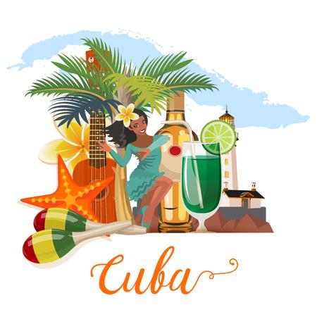 쿠바 매력과 명소 - 여행 엽서 개념. 벡터 일러스트 레이 션 전통적인 쿠바 아키텍처, 다채로운 건물, 자동차, 기타, 시가, 칵테일, 플래그. 포스터 디자 일러스트