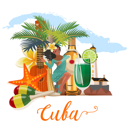 Cuba attraction and sights - travel postcard concept. Vector illustration with traditional Cuban architecture, colourful buildings, car, guitar, cigars, cocktail, flag. Design elements for poster.