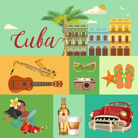 Cuba atracción y lugares de interés turístico - concepto de tarjetas postales del viaje. Ilustración del vector con la arquitectura tradicional cubana, edificios de colores, coche, guitarra, cigarros, cócteles, bandera. elementos de diseño para el cartel. Foto de archivo - 75569972