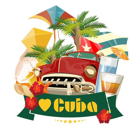 Atracciones y lugares de interés de Cuba - concepto de postal de viaje. Ilustración de vector con arquitectura tradicional cubana, edificios coloridos, coche, guitarra, cigarros, cóctel, bandera. Elementos de diseño para póster.