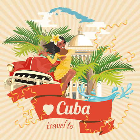 Cuba poster. Vector icons collection of Cuban culture. Cuba attraction and sights. Design elements for poster.