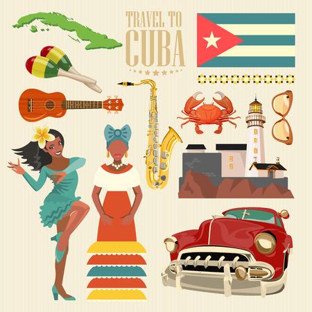 キューバ ポスター。キューバ文化のベクトル アイコンのコレクション。キューバの魅力や観光スポット。ポスターのデザイン要素です。 写真素材 - 75569980