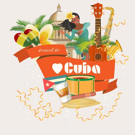 Cartel de Cuba. Vector Iconos de la colección de la cultura cubana. Cuba atracción y lugares de interés. elementos de diseño para el cartel. Foto de archivo - 75569981