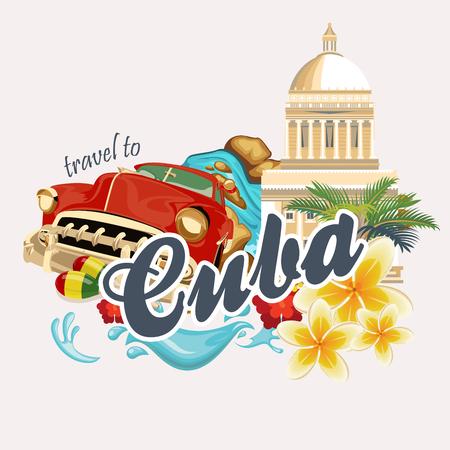Kuba Poster. Vector Icons Sammlung der kubanischen Kultur. Kuba Attraktion und Sehenswürdigkeiten. Design-Elemente für Poster. Standard-Bild - 75569979