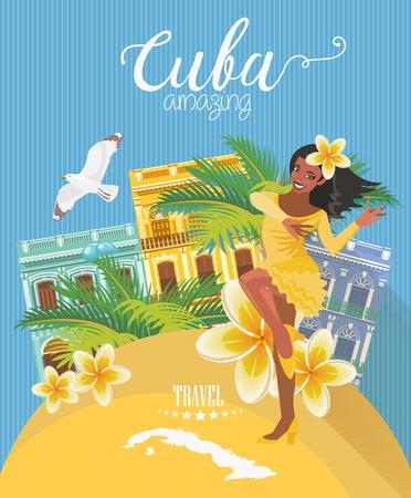 cartel de Cuba. Vector Iconos de la colección de la cultura cubana. Cuba atracción y lugares de interés. elementos de diseño para el cartel.