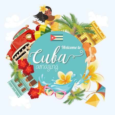 Plakat na Kubie. Ikony wektorowe kolekcji Cuban kultury. Kuba atrakcją i zabytkami. Elementy projektu plakatu. Ilustracje wektorowe