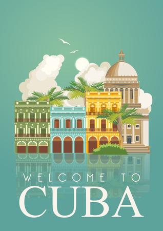 Cartel de Cuba. Vector Iconos de la colección de la cultura cubana. Cuba atracción y lugares de interés. elementos de diseño para el cartel. Foto de archivo - 75569990