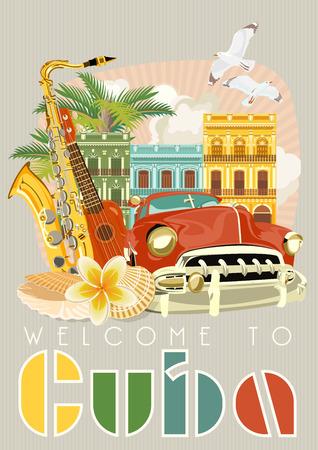 Cartel de Cuba. Vector Iconos de la colección de la cultura cubana. Cuba atracción y lugares de interés. elementos de diseño para el cartel. Foto de archivo - 75569989