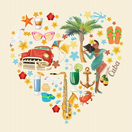 キューバ ポスター。キューバ文化のベクトル アイコンのコレクション。キューバの魅力や観光スポット。ポスターのデザイン要素です。