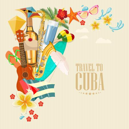 Plakat na Kubie. Ikony wektorowe kolekcji Cuban kultury. Kuba atrakcją i zabytkami. Elementy projektu plakatu.