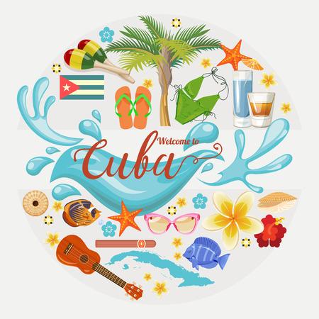 쿠바 포스터. 벡터 아이콘 쿠바 문화의 컬렉션입니다. 쿠바 매력과 볼거리. 포스터 디자인 요소입니다.