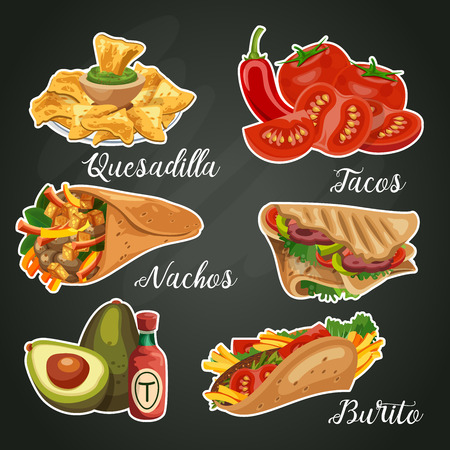Comida y cocina mexicana. Conjunto de vectores. Méjico Foto de archivo - 76710948