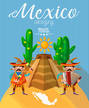 spanish food: Mexico travel vector card. Mexican icons. Set