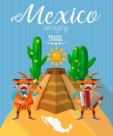 pinata: Mexico travel vector card. Mexican icons. Set