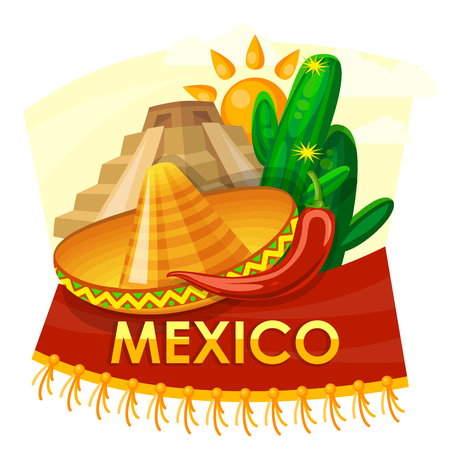 Mexico travel vector card. Mexican icons. Set
