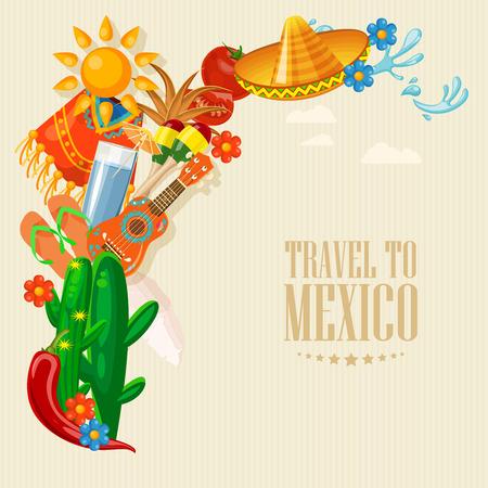 Méjico. Tarjeta vectorial con iconos mexicanos. Conjunto Ilustración de vector