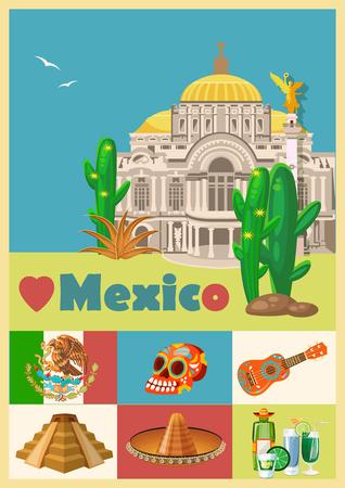 Mexico. Vector kaart met Mexicaanse pictogrammen. set