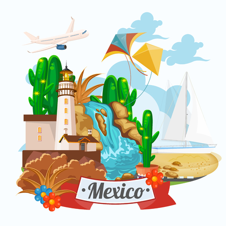 mexican ethnicity: Mexico. Vector card with mexican icons. Set