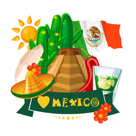 latinoamerica: Mexico. Vector card with mexican icons. Set