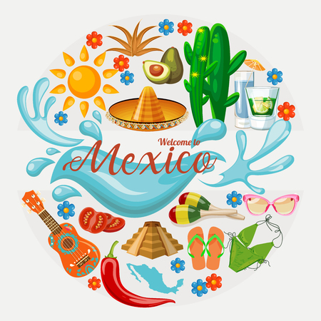 멕시코. 멕시코 아이콘 벡터 카드입니다. 세트 일러스트