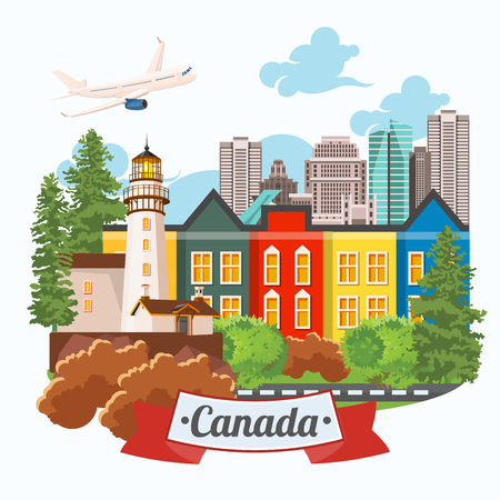 Canada. Illustrazione vettoriale canadese. Cartolina di viaggio. Archivio Fotografico - 77713011