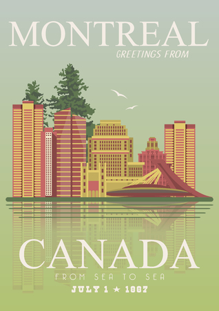 canadian flag: Canada. Montreal. Canadian vector illustration. Travel postcard.