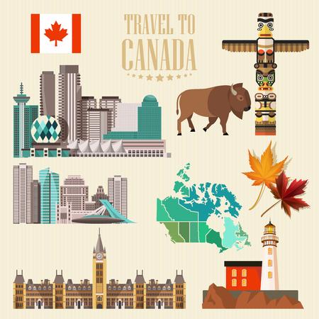 Canada. Canadian vector illustration. Travel postcard.