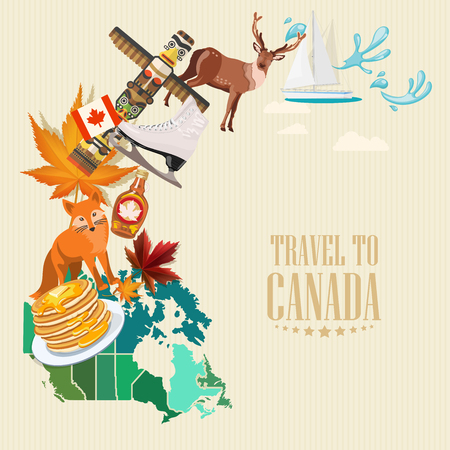 vancouver city: Canada. Canadian vector illustration. Travel postcard.