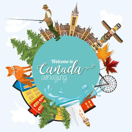 parliament: Canada. Canadian vector illustration. Travel postcard.