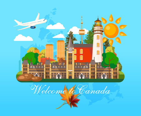 カナダ。カナダのベクター イラストです。旅行のはがき。  イラスト・ベクター素材