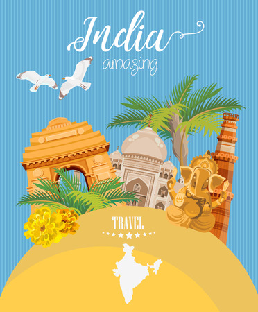 India vector illustration. Indian colorful poster. Independence day. Фото со стока - 78689381