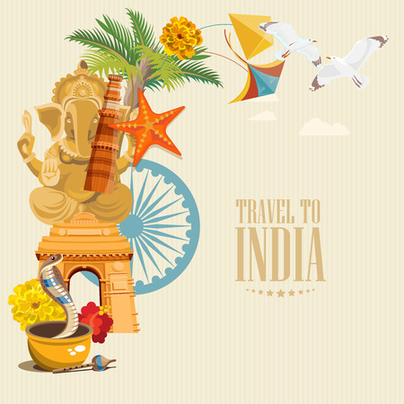 India vector illustration. Indian colorful poster. Independence day.