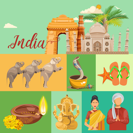 India vector illustration. Indian colorful poster. Independence day. Reklamní fotografie - 78689382