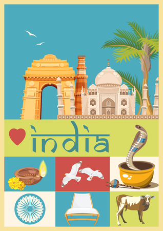India vector illustration. Indian colorful poster. Independence day. Reklamní fotografie - 78689386