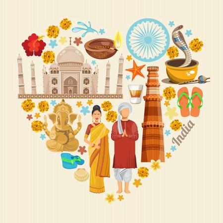 India vector illustratie. Indische kleurrijke poster. Onafhankelijkheidsdag. Stock Illustratie