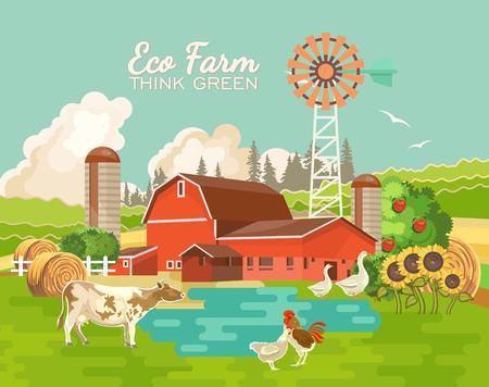 ファームの農村風景です。農業のベクトル図です。 カラフルな田舎。レトロな村と農場のポスター  イラスト・ベクター素材