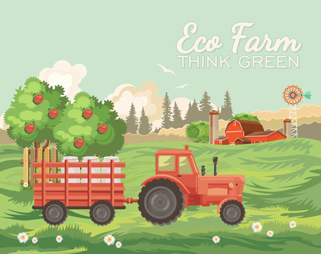 Farm rural landscape. Agriculture vector illustration.  Colorful countryside. Poster with retro village and farm
