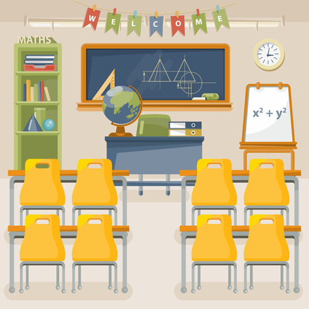 Back to school vector illustration with classroom in vintage style.