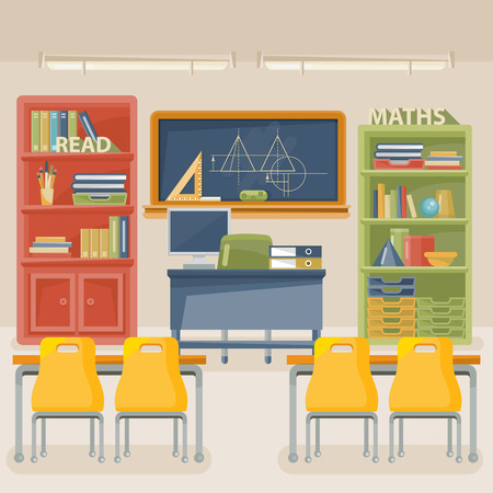 classroom table vector. back to school vector illustration with classroom in vintage style. table t
