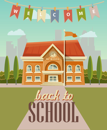 Back to school vector illustration with school building in vintage style.