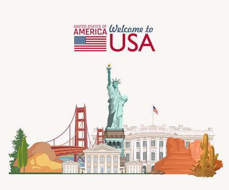 Witamy w USA. Plakat w Stanach Zjednoczonych. Ilustracji wektorowych o podróży