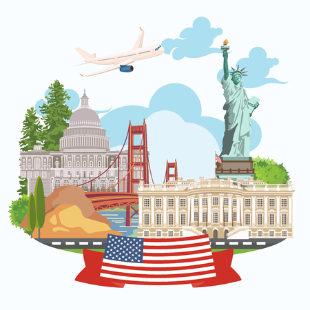 Welcome to USA. United States of America poster. Vector illustration about travel 免版税图像 - 81864347