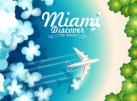 Welcome to USA. Miami. United States of America poster. Vector illustration about travel 向量圖像