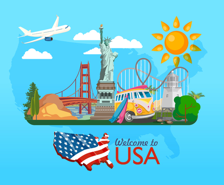 about: Welcome to USA. United States of America poster. Vector illustration about travel
