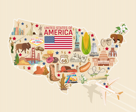 Welcome to USA. United States of America poster. Vector illustration about travel Stock Vector - 81792323
