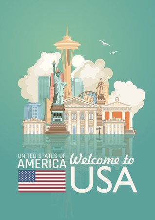 Welcome to USA. United States of America poster. Vector illustration about travel